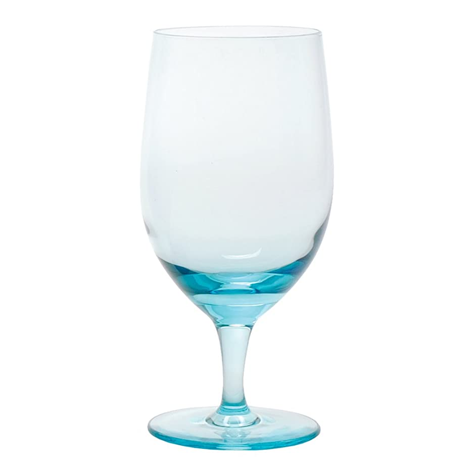 D&V Glass Gala Collection Goblet/Beverage Glass 15 Ounce, Aquamarine, Set of 12