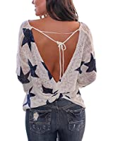 Womens Deep V Neck Backless Sweater Star Knitted Long Sleeve Pullover Lace up Loose Tops Blue