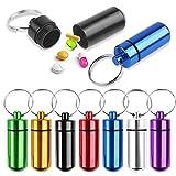Dadabig 9 Stück Pillenbox Schlüsselanhänger, Mini Aluminium Pillenbox Schlüsselbund wasserdichte Luftdichte kleine Kapsel Mini Schlüssel-Anhänger (7 farbig)