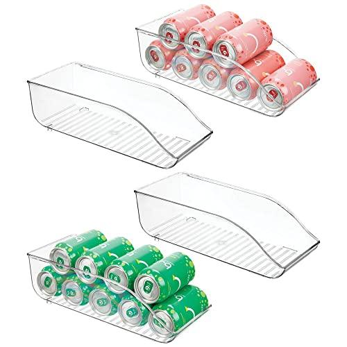 mDesign Juego de 4 cajas de almacenaje para frigorífico y armarios de cocina – Contenedores de plástico con capacidad para 9 latas cada uno – Práctico organizador de nevera – transparente