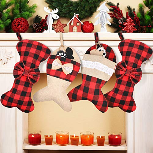 4 Pieces Christmas Plaid Stockings Set Pet Dog Fish Christmas Stockings Buffalo Plaid Large Bone Shape Pets Stockings for Christmas Tree Decorations