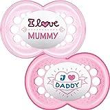 MAM - Set di 2 succhietti con scritta: I love Mummy/Daddy, con custodia da viaggio sterilizzabile, 6+ mesi, Colori / Modelli assortiti