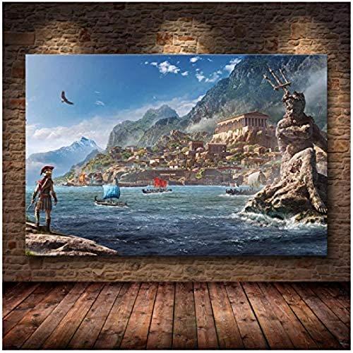 RZHSS Die Plakatdekoration Gemälde Von Assassins Creed Odyssey Origins Auf Hd Leinwand Leinwand Malerei Poster Und Drucke -60X90Cm No Frame