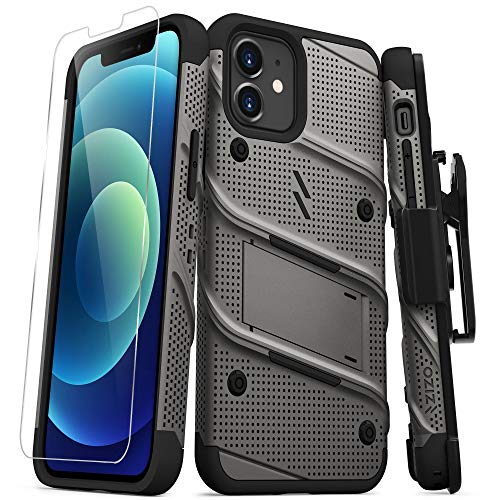 ZIZO Bolt Series for iPhone 12 / iPhone 12 Pro Case with Screen Protector Kickstand Holster Lanyard - Gun Metal Gray