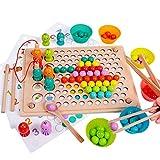 rolimate Giochi in Legno Perline Magnetiche da Pesca Clip Puzzle Gioco da Tavolo, Regalo di Compleanno per 3 4 5 Anni Ragazzi Ragazze Montessori Giocattoli Gioco di Corrispondenza Gioco di Memoria