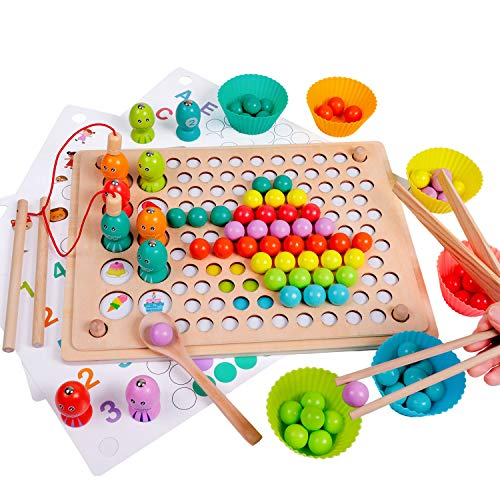 Rolimate Wooden Toy Magnetic Fishing Game Clip Beads Game Puzzle Board, Best Gift for 3 4 5+ Years Old Boy Girl, Montessori Toy for Toddler Educational Preschool Learning Toy Matching Game Memory Toy
