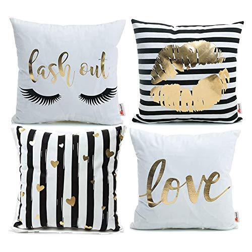 Monkeysell Pack of 4 Black and Gold Throw Pillow Cover Bronzing Flannelette Home Pillowcases Throw Pillow Cover Love Black Gold Lips Pattern Design Rock Punk Neoclassical Style 18 inches (White)