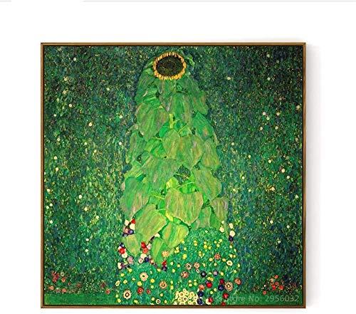 VGSD® Canvas Kunst Muren Schilderen De Zonnebloem, Gustav Klimt Geschilderd Olieverfschilderij Afdrukken, FotoS Kopiëren Home Decor-60X60Cm_No Frame