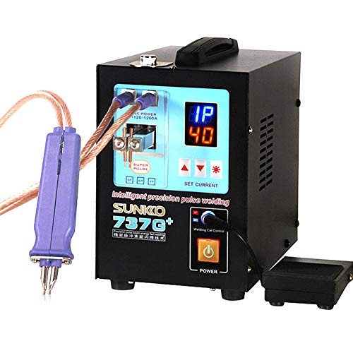 SUNKKO 737G+ 4.3KW High Power Spot Welding Machine For 18650 Batteries Nickel Strip Connection with Remote Welding Pen Making big batteries (110V US PLUG)