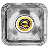 50 Pack Aluminum Foil Square Stove Burner Covers Range Protectors Bib Liners Disposable Gas Burner Bibs Gas Top Liner Stove Easy Clean - (8.5' Square) from Spare