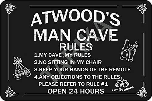 Tarika Atwood's Man Cave Open 24 Hours Cartel de Hierro Pintura Vintage...