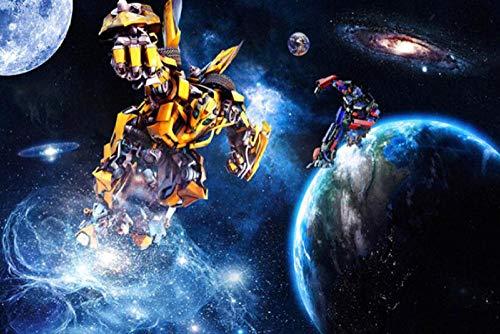 MINCOCO Individuelle 3D-Fototapete Transformers große Wandtapete Kinderzimmer Schlafzimmer Hintergrund Wand Sterne Wandtapete, 400x280 cm (157.5 by 110.2 in)