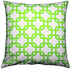 JinStyles Cotton Canvas Trellis Chain Accent Throw Pillow Cover