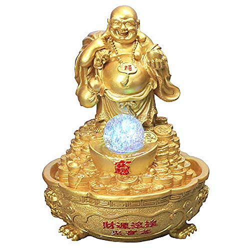 GYFAA Outdoor Desktop Buddha Fountain, with Spinning Ball Statues for Office Home Decoration Yellow 11inch