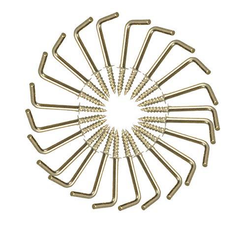50 Stück L Haken Schraube verkupfertem Gold Metall Schraubenhaken mit Schlitz für Aufhängen (1/2(20mm))