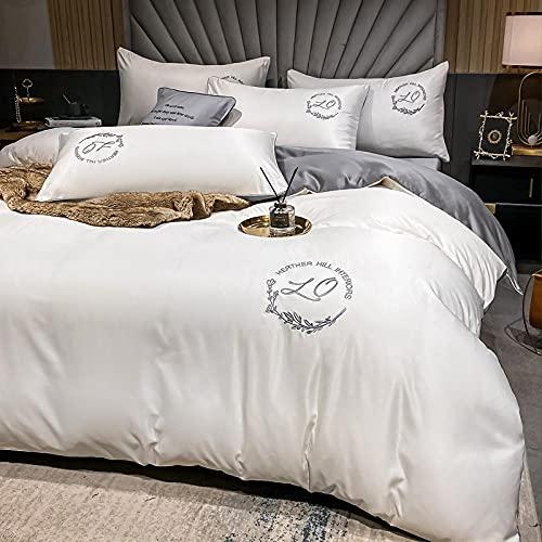 Funda Nordica Cama 150/135 Microfibra,Verano verano lavado de agua cama de seda luz de lujo de lujo de lujo de cuatro piezas de cama-J_1,5 m la cama (4 piezas) Adecuado para colchas 200x230cm