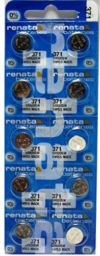 Renata 10 Pack 371 Silver Oxide 0% Mercury Electronic Batteries SR920SW