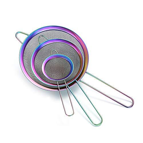 Juego de 3 coladores de malla fina Rainbow, colador de harina de colores para hornear, limpiador de acero inoxidable,colador de té matcha multicolor,separador de salsa,coladores de pasta Stasher Sieve