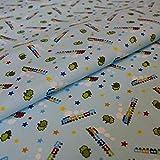 Hans-Textil-Shop 1 Meter Stoff Meterware Zug Bäume Sterne