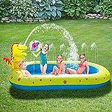 Riiai Piscina de rociadores inflables, alfombra de juego al aire libre, piscina para niños, almohadilla de agua de dinosaurio lindo al aire libre juguetes para niños pequeños y niñas