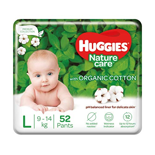 Huggies Nature Care Pants, Large (L) Size Baby Diaper Pants, 52 Count, Nature's gentle protection with organic cotton