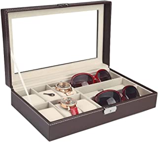 Glasses Storage Box Artificial Leather Storage Display Glasses Box Jewelry Box Simple Finishing Box (Color : Brown)