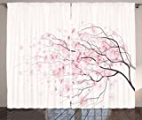 Ambesonne Pale Pink Curtains, Sakura Branch with Cherry Flowers Tender Japanese Spring, Living Room Bedroom Window Drapes 2 Panel Set, 108' X 63', Pink White