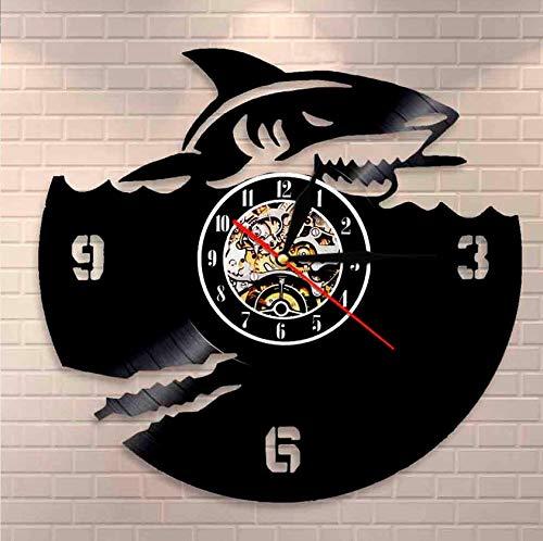 Orologio Natalizio in Vinile Shark Orologio da Parete con Dischi in Vinile Shark Great White Design Orologio da Parete Art Vinyl Record Clock Home Decor Interior Design Regali marini 30 cm