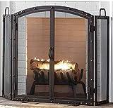 Pantalla de chimenea de estilo industrial con puerta, protector de chispas estable independiente de 3 paneles de hierro forjado para chimenea y estufa