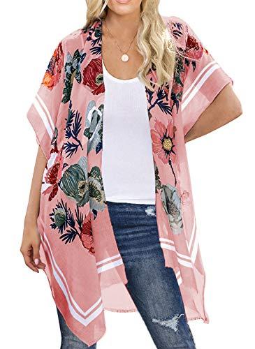 Mujeres Summer Kimono Cardigan Manga Corta Bikini Cover Up Floral Impreso Blusa Larga Ropa de Playa Casual Pareos (Talla única, Rosa)