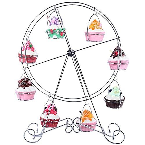 QIAOLI Puesto de Pasteles Ferris Wheel Torta Soporte de la Magdalena Pastelería giratoria 8 Tazas de Postre Portador de despidades para la Fiesta de cumpleaños de la Boda Bandejas para Tartas