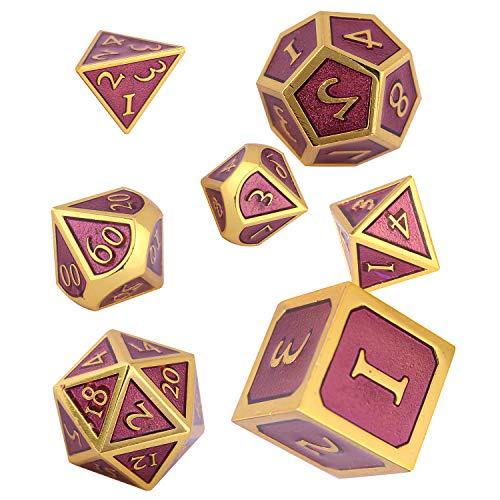 Schleuder Dados de rol de Dungeons and Dragons, Poliedricos DND 7 Piezas Dice Set Metal D&D Juego de rol para Mazmorras y MTG, RPG Dice Gaming (Gold & Purple)