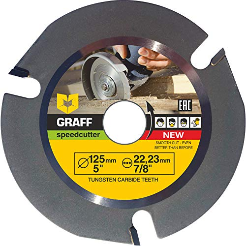 Hartmetall GRAFF® Speedcutter Flex Trennscheibe für Holz 125mm, 3 Zähne TCT Holz Kreissägeblatt für Winkelschleifer Wood Carving Disc zum Schnitzen, Schneiden, Formen 22.23 mm (125 mm)