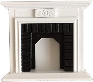 SXFSE Dollhouse Decoration Accessories,1:12 Dollhouse Miniature Furniture Room Wooden Vintage Black White Fireplace