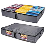 Homenery Under Bed Storage Plastic Fabric - Sturdy 4 Sidewalls Underbed Storage Containers Plastic - Water Resistant Canvas Under Bed Storage - Wide Large Drawer Container Bins - Organizer Everything
