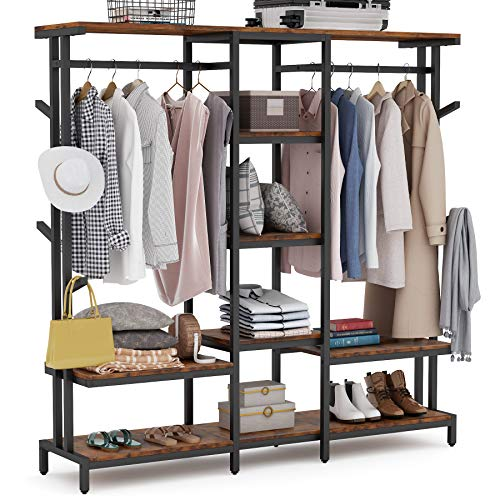Tribesigns Extra Large Closet Organizer with Hooks Free-Standing Closet Clothes Rack with Shelves and Hanging Rod Heavy Duty Industrial Clothing Shelf Closet Storage System for Bedroom Mudroom