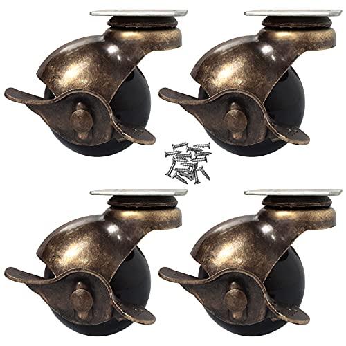OK5STAR Ruedecillas robustas de estilo antiguo en color dorado, con protector superior, rotación 360 grados, pack de 4, 2 Inch With Brake