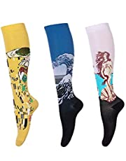 LEOSTEP Compressiekousen dames (3 paar) compressiesokken kleurrijke trombose kousen voor sport, vliegen, hardlopen, reizen, zwangerschap verpleegkundigen 15-25 mmHg