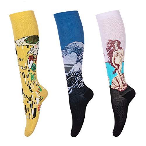 LEOSTEP Calcetines de compresión para hombres y mujeres (3 pares) antideslizantes de tubo largo, ideal para correr, enfermera, viajes, vuelo, embarazo 15-25 mmHg