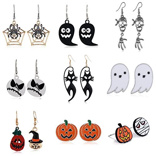 Halloween Ohrringe für Mädchen 9 Paar Halloween Ohrringe Set Ohrstecker Verspielt Einzigartiges Design Anhänger Kürbis Sprite Spinne...