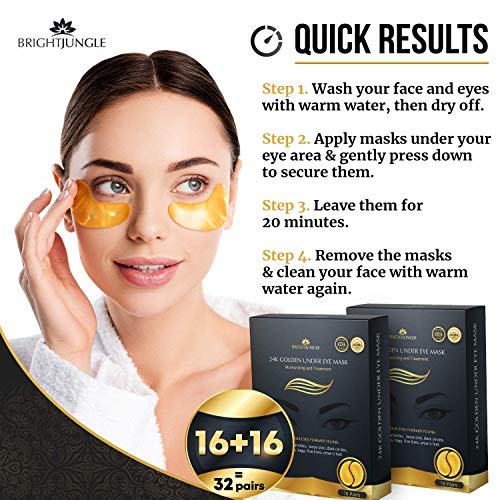 516NFuzT3yL - Under Eye Collagen Patches, 24K Gold Anti-Aging Mask, Dark Circles, Puffiness and Wrinkles Treatment Gel Pads, Immune System Support for Eyes, Deep Moisturizing, 2 Pack
