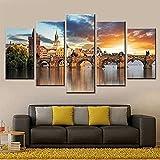 Inicio Arte 5 piezas Praga Río Vossa Puente de piedra Póster de paisaje Obra de arte sorpresa de doble vista Moderno enmarcado 150 × 80Cm