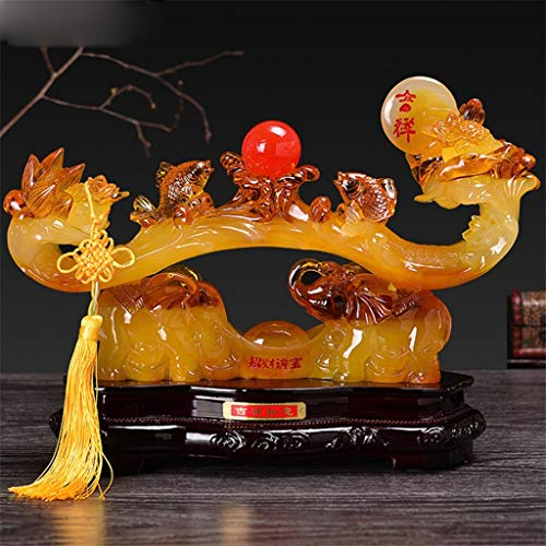 WGGTX China Feng Shui Jade Ruyi Figurines Ornaments Mascot Gifts Office Shop Front Desk Modern Craft Home Accessories (Color : A)