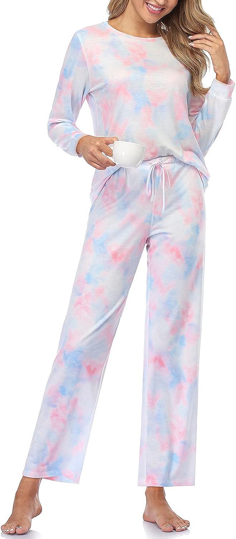Womens Pajamas Set Long Sleeve Tops and Pants PJ Sets 2 Piece Cozy PJs Joggers Loungewear Night Suit
