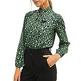 Camisetas de manga larga Lunares Tops de las mujeres Y2k atar blusas de gasa botón arriba camisa casual otoño Streetwear, Punto verde., S