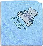 NOSBEBES  Serviette Cap Sortie de bain bébé idée cadeau naissance bébé maternité ou idée annonce de grossesse (BLEU-OURS)