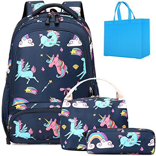 Kids Unicorn Backpack Girls Preschool Backpack with Lunch Bag School Bag 3 in 1 Bookbag Navy