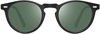 Fashion Black/Blue/Green/Pink/Yellow Men and Women with The Same Driving Driving Sunglasses Round New Polarized TR90 Material Fashion Sunglasses Retro (Color : Green)