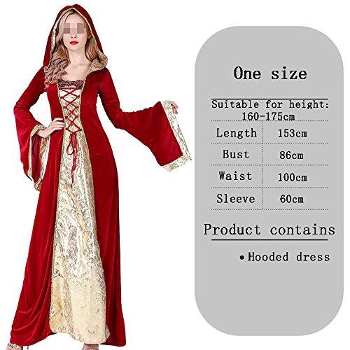 HALLOWEEN-COSTUMES Elegante Heks Cosplay Masquerade Hof Hooded Fancy Jurk Voor Volwassenen, Lange Jurk
