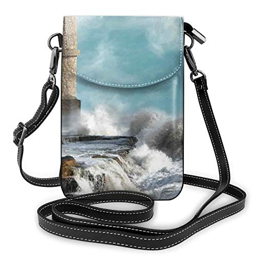 Women Mini Purse Crossbody of Cell Phone,Old Middle Age Tower by The Sea Renaissance Buildings Dreamy Princess Print